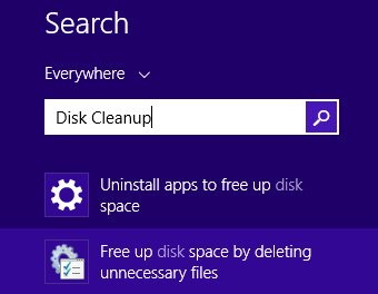 Su dung disk cleanup trong windows 8